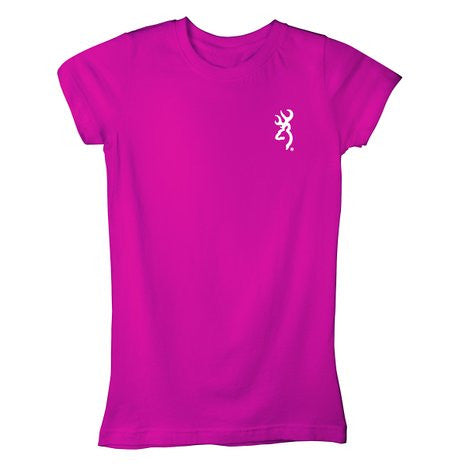 Browning Women's Buckmark Vines Fitted Short Sleeved T-shirt Fuchsia - Back40Trading2  - 1