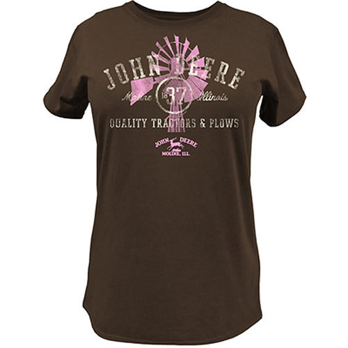 John Deere Women's Windmill Quality Tractors T-Shirt Brown - Back40Trading2
