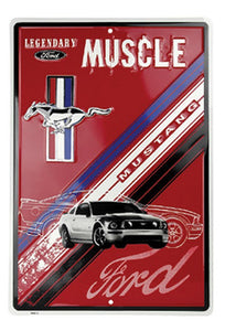 "Legendary Ford Muscle Sign Mustang Red 12"" x 18"" - Back40Trading2"