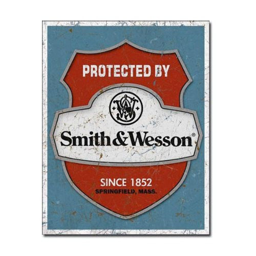 "Smith & Wesson - Protected By Tin Sign 12.5"" X 16"" , 12x16 - Back40Trading2"