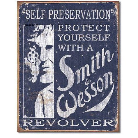 Smith & Wesson - Self Preservation Tin Sign , 12x16