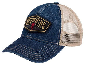 Browning Slack Denim Mesh Hat, Blue