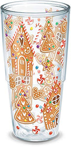 Tervis 1273239 Gingerbread Houses Insulated Tumbler with Wrap, 24oz, Clear