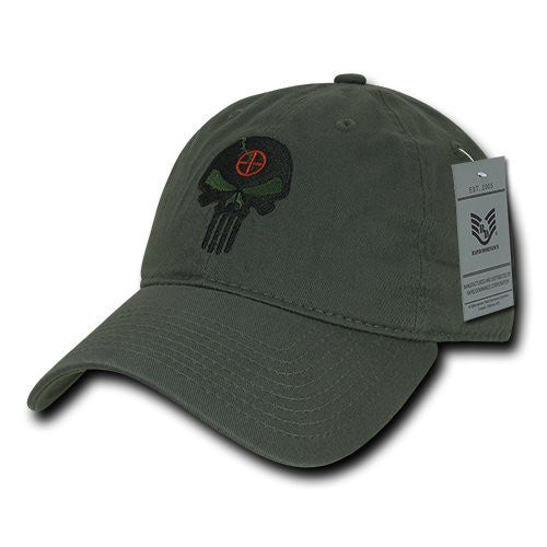 Rapid Dominance Relaxed Graphic Cap with Punisher Skull, Olive- back40trading2