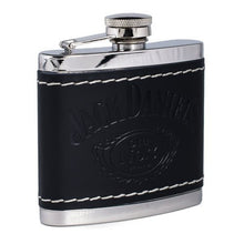 Jack Daniel's Black Leather Wrapped Stainless Steel Flask - Back40Trading2  - 2