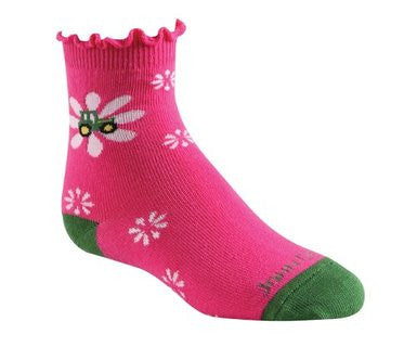 John Deere Youth Flowers/Lettuce Top Pink Socks