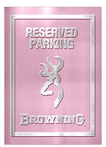 Browning Arms Company White Silver Buckmark Brand Camo Logo Pink Girly Pattern Garage Home Office Outdoor Tin Parking Sign - Back40Trading2  - 3
