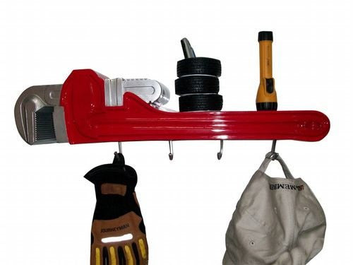 Pipe Wrench 3-D Coat Rack and Shelf - Back40Trading2
