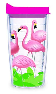 "TERVIS ""Lawn Flamingos"" Wrap Tumbler with Fuchsia Lid, 16-Ounce- Back40Trading2"