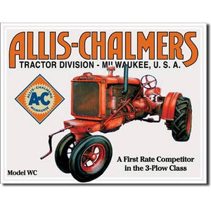 Allis-Chalmers Tin Metal Sign : Model WC Tractor - Back40Trading2