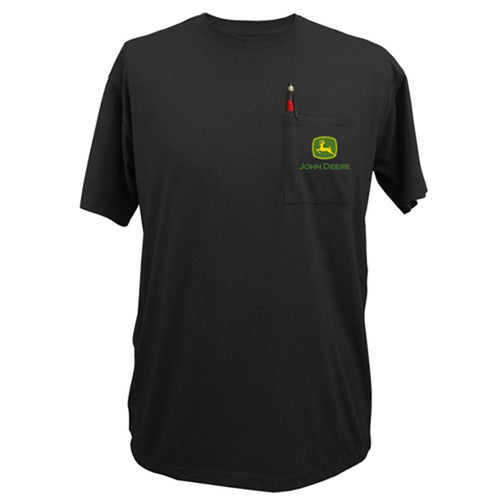 John Deere Classic Logo Black Pocket T-shirt - Back40Trading2