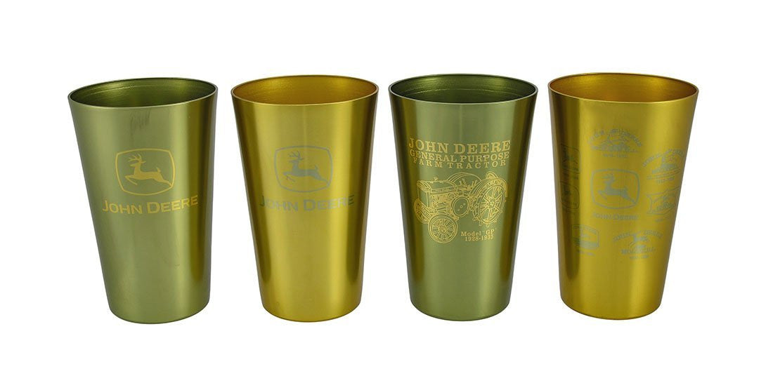 John Deere Logo Design Aluminum 16 oz Beverage Tumblers - Set of 4 - Back40Trading2  - 1