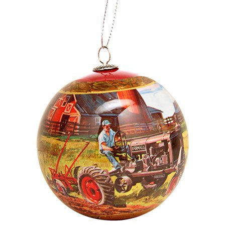 Farmall Farm Scene Ball Christmas Ornament Tractor Red - Back40Trading2
