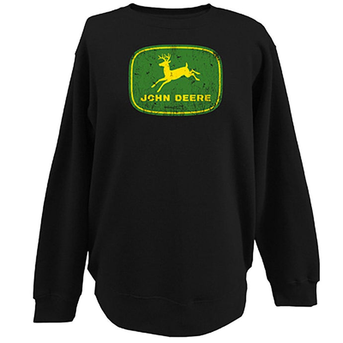 John Deere Mens Fleece Crew Neck Graphic Shirt - Black - Back40Trading2