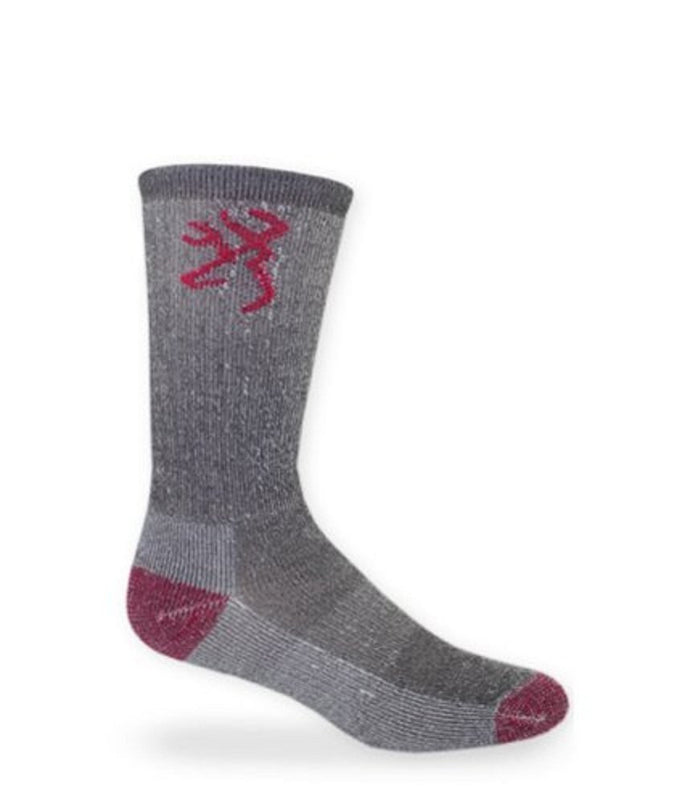 Browning Socks - Ultimate Merino - Pink & Gray - Medium - 8810 - Back40Trading2