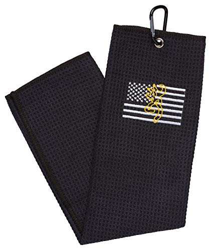Browning Team Shooting Towel, with Flag, Black