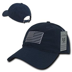 American Flag Embroidered Relaxed Cotton Adjustable Cap - NAVY- back40trading2