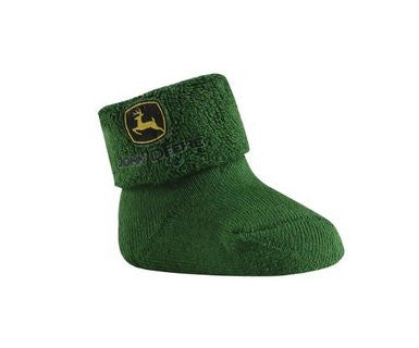 John Deere Infant Terry Sock/Bootie Green - Back40Trading2
