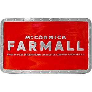 Farmall McCormick Rectangle Belt Buckle Red - Back40Trading2