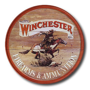 Winchester Firearms Ammunition Cowboy on Horse Rider Round Retro Vintage Tin Sign - Back40Trading2