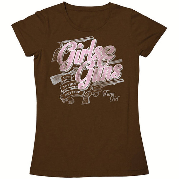 Farm Girl Brand Ladies Tee - Girls And Guns Ain't Nothin Better - Color Brown - Back40Trading2