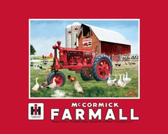 International Harvester McCormick Farmall Fleece Blanket Big Red - Rolled & Banded - Back40Trading2