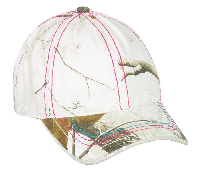 Realtree All Purpose Snow White with Pink Stitching Ladies Hat - Back40Trading2