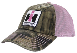 Case IH Distressed Trucker Cap Womens Pink and Camo - Back40Trading2  - 1