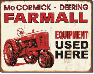 Farmall Tractor Equipment Used Here Distressed Retro Vintage Tin Sign - Back40Trading2