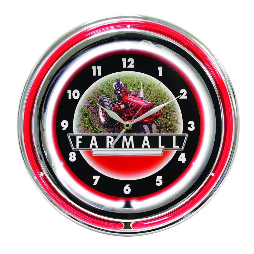 International Harvester McCormick Farmall 15 Inch Double Neon Wall Clock - Back40Trading2