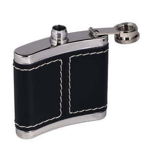 Jack Daniel's Black Leather Wrapped Stainless Steel Flask - Back40Trading2  - 5