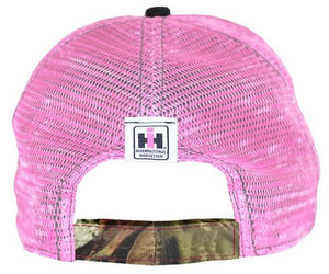 Case IH Distressed Trucker Cap Womens Pink and Camo - Back40Trading2  - 3