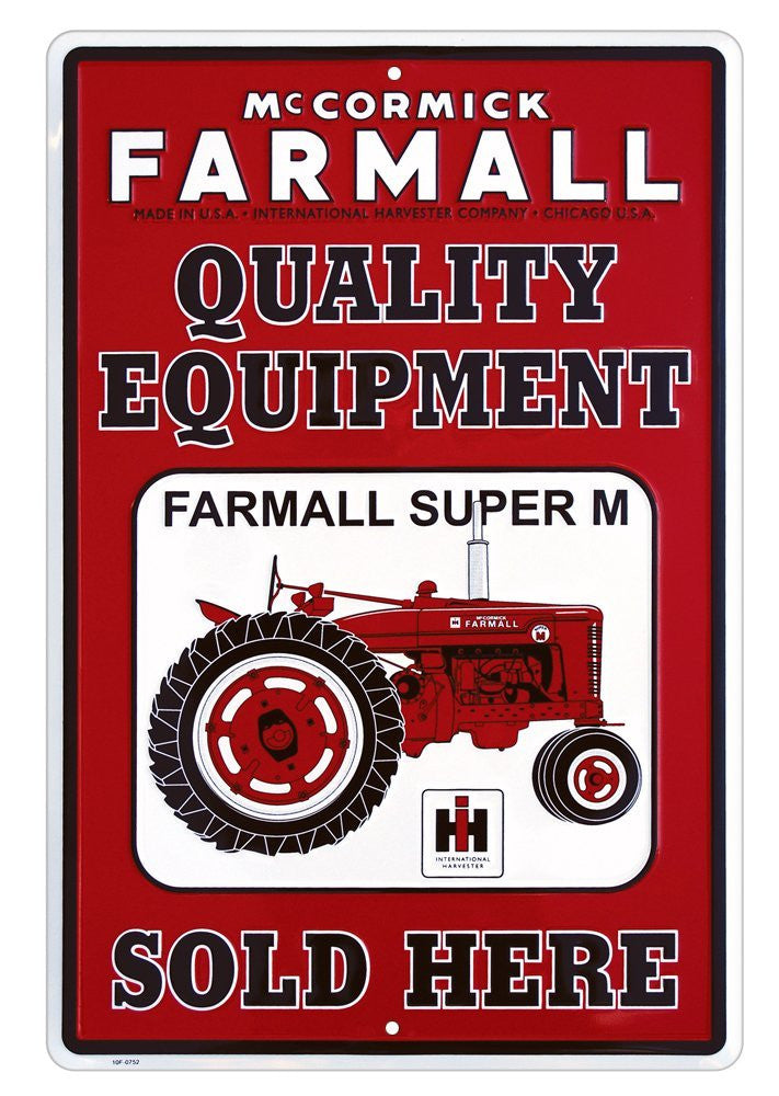 Farmall Metal Sign, Red and White - Back40Trading2