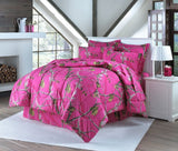Realtree Hot Pink Full Comforter Set with Shams and Bedskirt - Back40Trading2