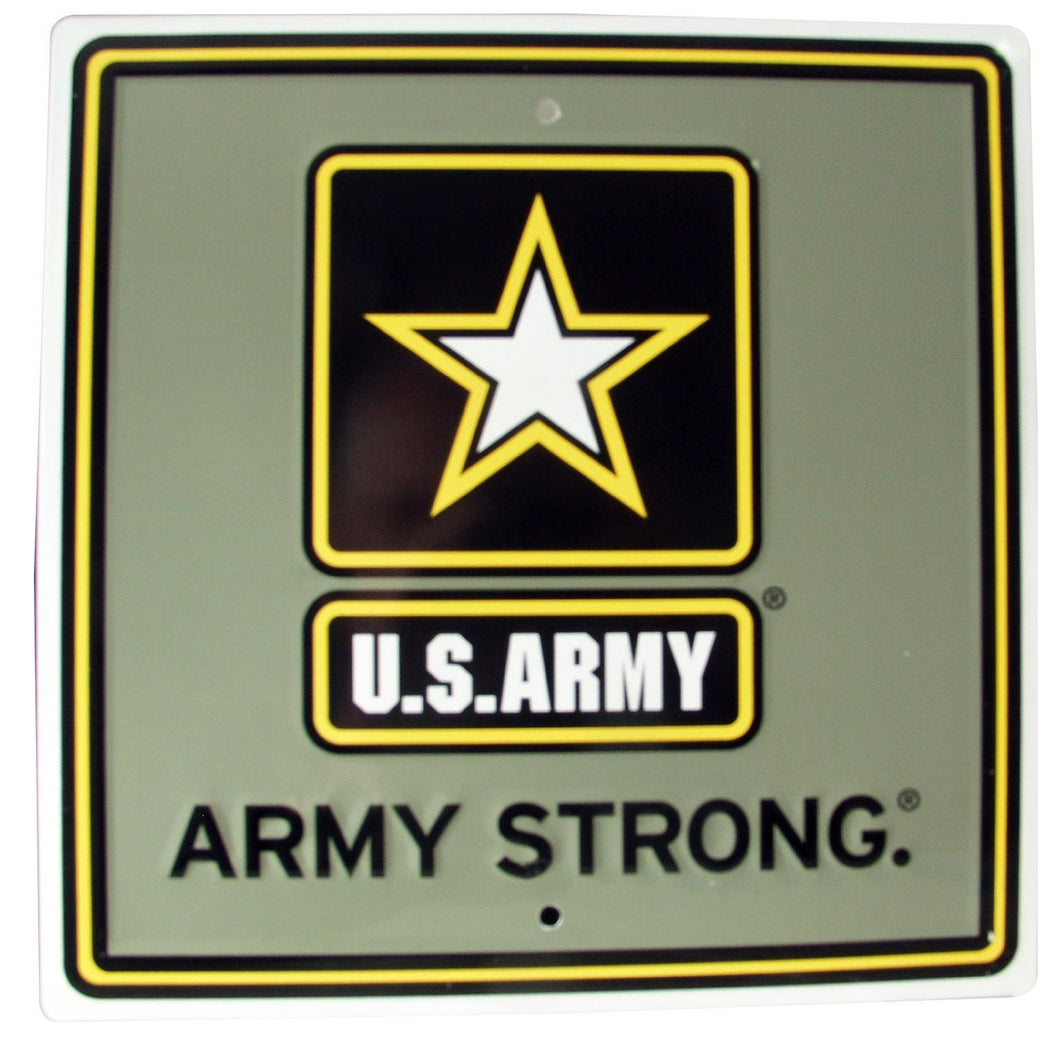 S&D Us Army Strong Metal Sign, 12 by 12-Inch - Back40Trading2
