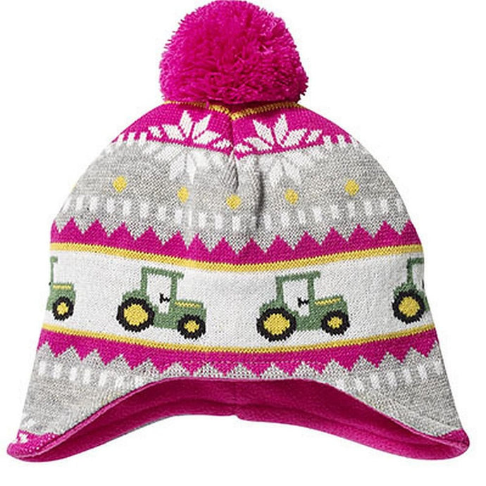 John Deere Toddler Pink Knit Hat with Tractors and Pom - Back40Trading2