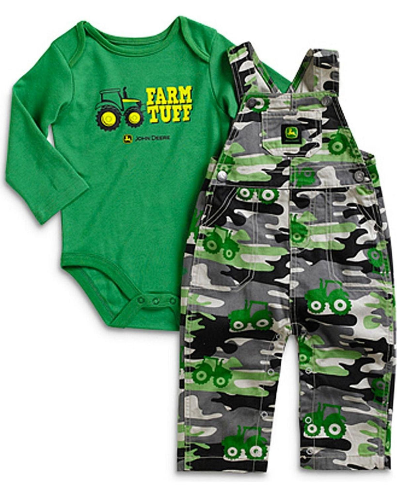 John Deere Infant-Boys' Farm Tuff Onesie And Overalls Set