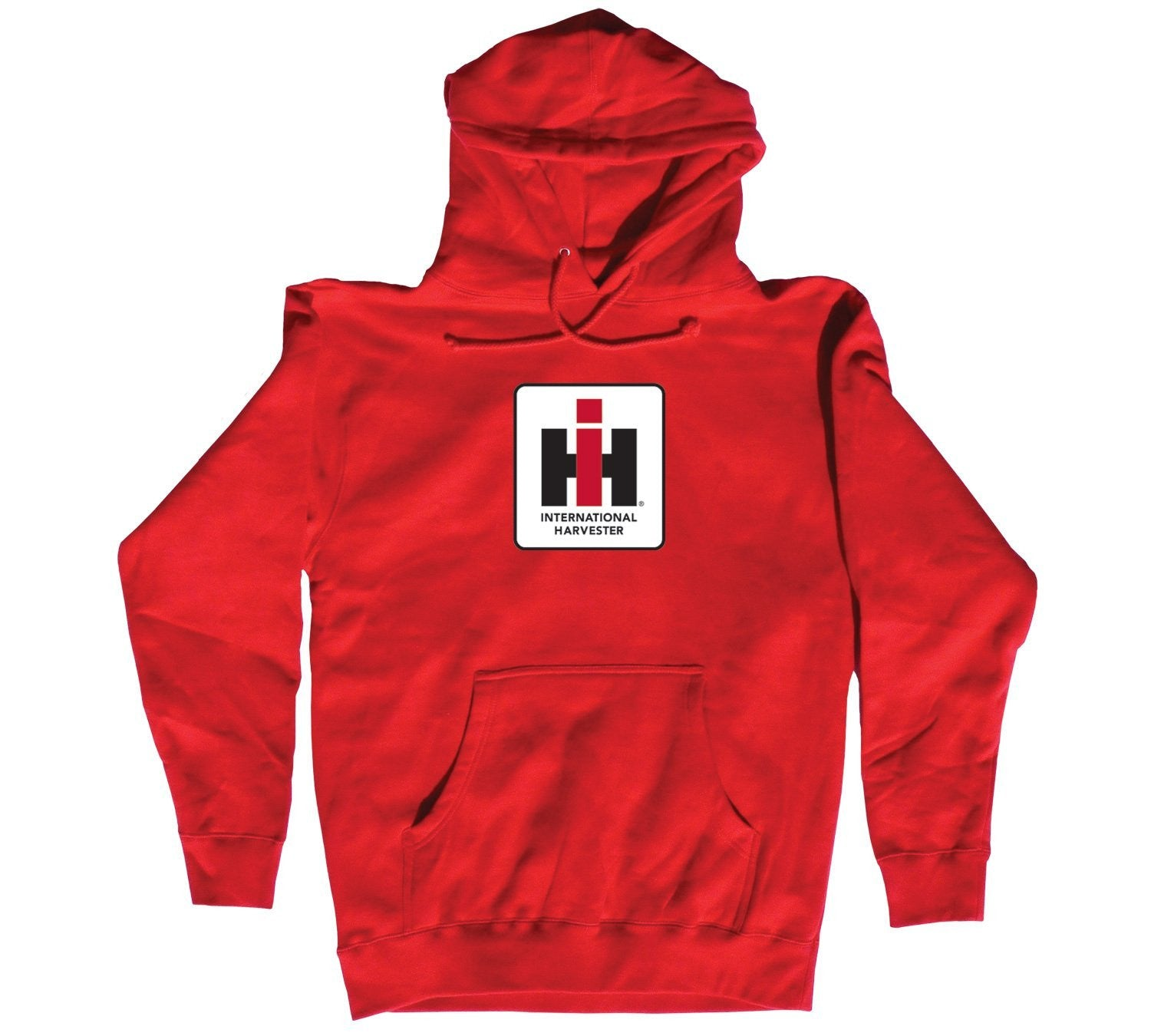 Country Casuals International Harvester Square Logo Men's Hoodie. Red. - Back40Trading2