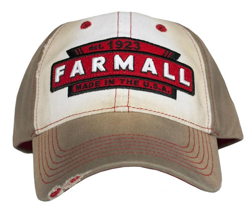 Farmall Tea Stained Distressed Baseball Hat Brown/Red - Back40Trading2