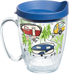 Tervis 1259435 Retro Camping Insulated Tumbler with Wrap and Blue Lid 16oz Mug Clear