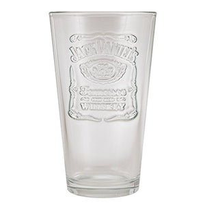 Jack Daniels Licenced barware 8532 Raised Label Glass, 16 oz, Clear- back40trading2