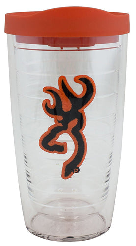 Tervis 16 oz Tumbler Browning Buckmark Blaze Orange with Blaze Orange Travel Lid - back40trading2