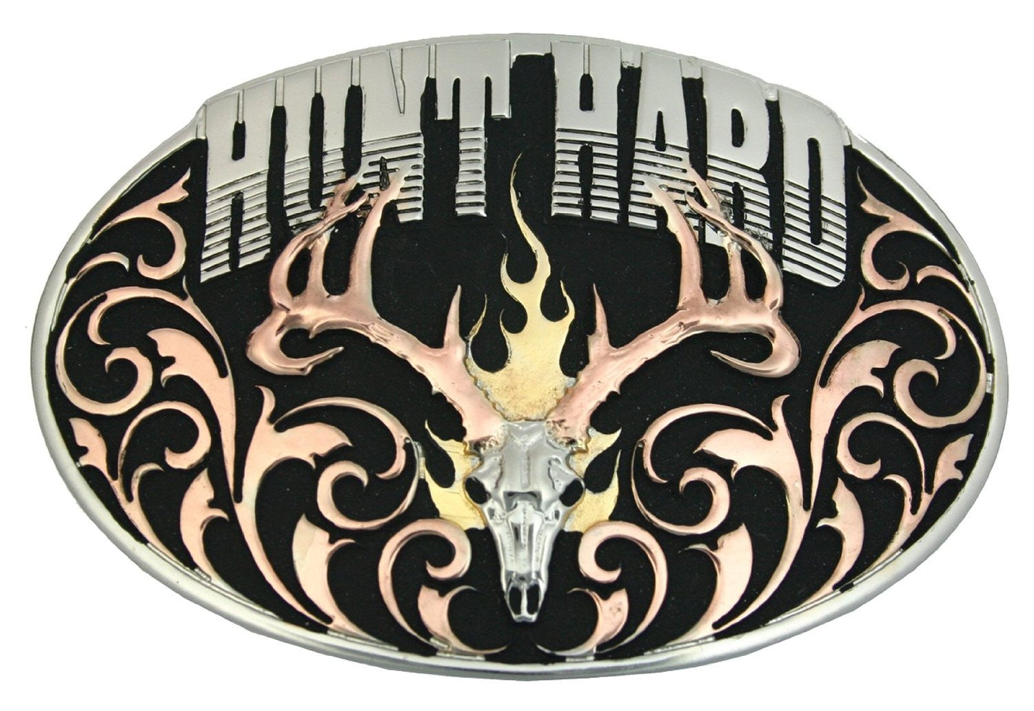 Montana Silversmiths Hunt Hard Tri Colored Attitude Belt Buckle - Back40Trading2