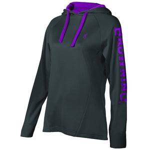 Browning Women's Performance Hooded Sweatshirt Charcoal - Back40Trading2