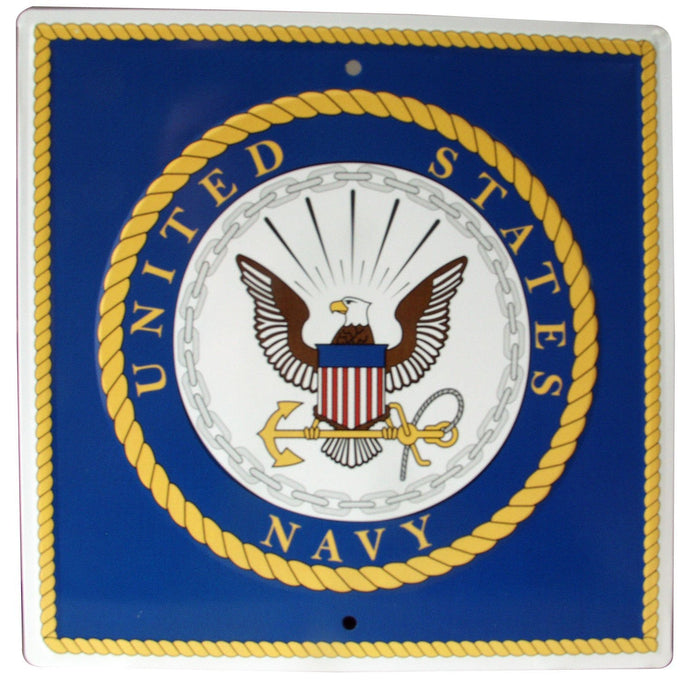 S&D US Navy Metal Sign, 12 by 12-Inch - Back40Trading2