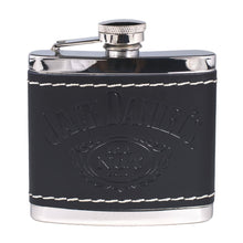 Jack Daniel's Black Leather Wrapped Stainless Steel Flask - Back40Trading2