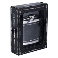 Jack Daniel's Black Leather Wrapped Stainless Steel Flask - Back40Trading2  - 4