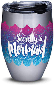 Tervis Stainless Steel Mermaid Tail with Clear and Black Hammer Lid 12 Ounce Tumbler