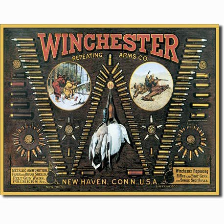 Winchester Arms Tin Metal Sign : Bullet Board - Back40Trading2