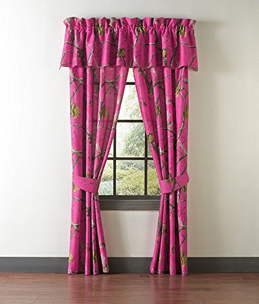 Hot pink curtains - Realtree Hot Pink Camo Camouflage Drapes Curtains Valance Sold